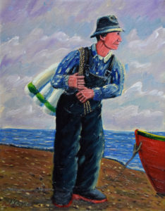 JOHN NEVILLE Boy With Bouys oil on canvas, 14 x 11 inches $1500