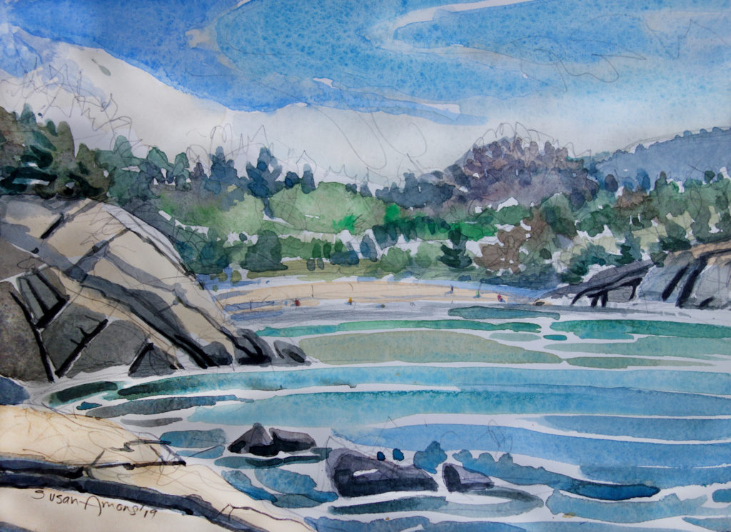SUSAN AMONS Acadia, Sand Beach watercolor, 7 x 10 inches
