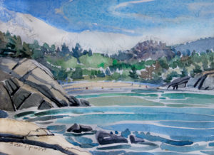 SUSAN AMONS Acadia, Sand Beach watercolor, 7 x 10 inches $800