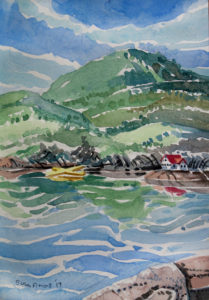 SUSAN AMONS Megunticook Lake with Yellow Floatplane watercolor, 10 x 7 inches $800