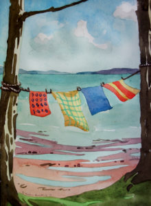 SUSAN AMONS Nova Scotia, Laundry Line watercolor, 10 x 7 inches $800