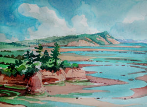 SUSAN AMONS Nova Scotia, Minus Basin watercolor, 7 x 10 inches $800