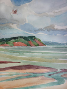 SUSAN AMONS Nova Scotia, Tidal Basin watercolor, 10 x 7 inches $800
