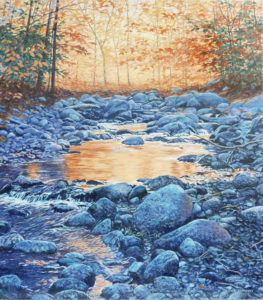 JANICE ANTHONY Mountain Pool, Autumn acrylic on canvas, 18 x 16 inches $3400
