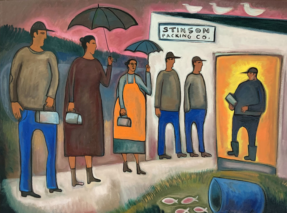 MATT BARTER Day Workers, Stinson Packing Company oil on canvas, 36 x 48 inches
