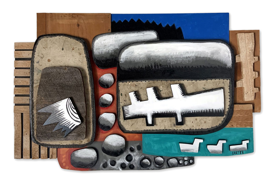 MATT BARTER Schoodic Driftwood Relief painted wood relief with found object, 35 x 55 x 4.5 inches