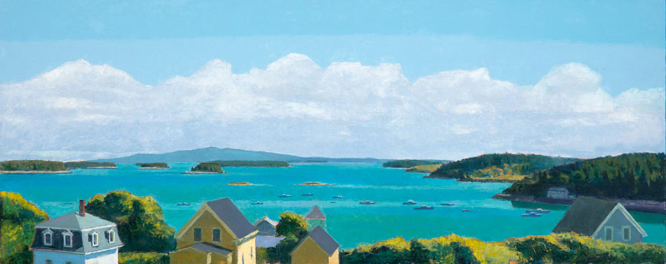 TOM CURRY The Harbor oil on panel, 24 x 60 inches