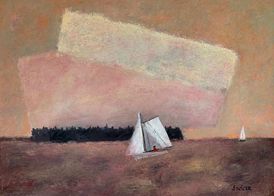 WILLIAM IRVINE Evening Sail oil on canvas, 28 x 36 inches
