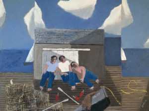 WILLIAM IRVINE Fishermen Resting oil on canvas, 36 x 48 inches $8500
