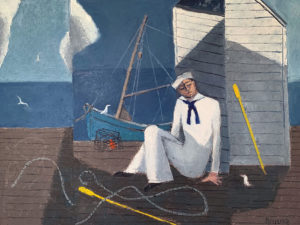 WILLIAM IRVINE Resting Sailor oil on canvas, 30 x 40 inches $7500