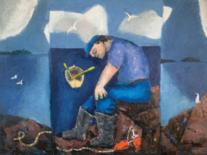 WILLIAM IRVINE The Resting Fisherman oil on canvas, 30 x 40 inches $7500