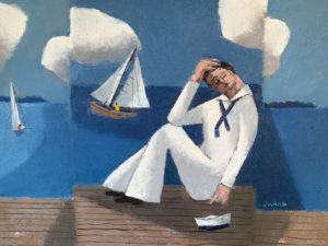 WILLIAM IRVINE The Sleeping Sailor oil on canvas, 30 x 40 inches $7500