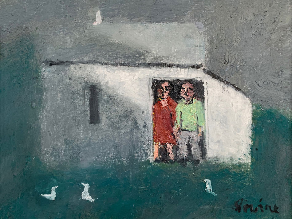 WILLIAM IRVINE Together with Birds oil on panel, 12 x 16 inches