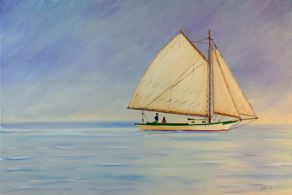 JOHN NEVILLE Friendship Sloop oil on canvas, 24 x 36 inches