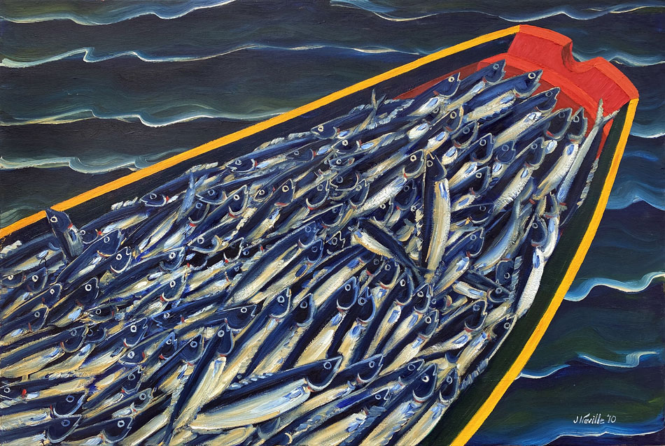 JOHN NEVILLE Boat Full of Fish oil on canvas, 24 x 36 inches