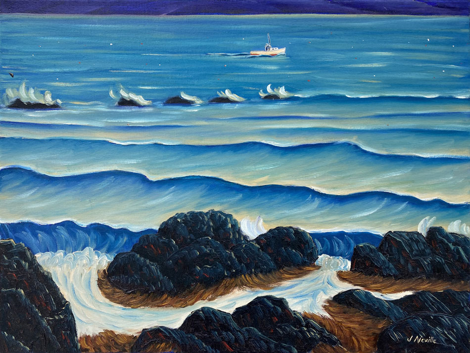 JOHN NEVILLE Rocky Shores oil on canvas, 18 x 24 inches