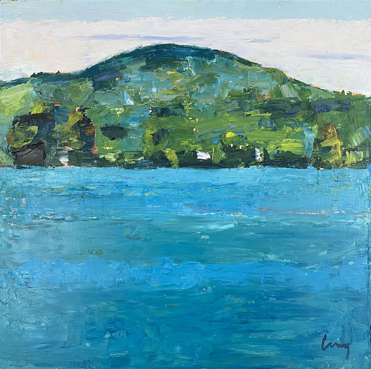 TOM CURRY Blue Hill Mountain, High Tide oil on panel, 12 x 12 inches