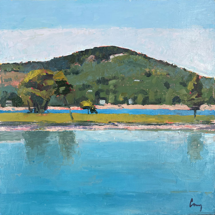 TOM CURRY Blue Hill Mountain, Low Tide oil on panel, 12 x 12 inches