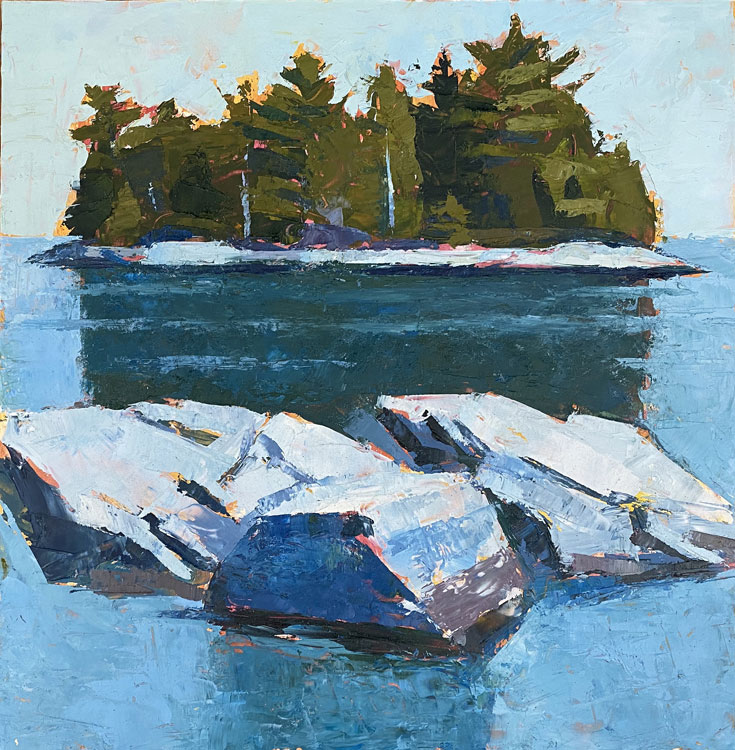 TOM CURRY Island and Ledges oil on panel, 12 x 12 inches