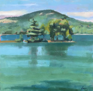 TOM CURRY Mountain and Island oil on panel, 12 x 12 inches $1400