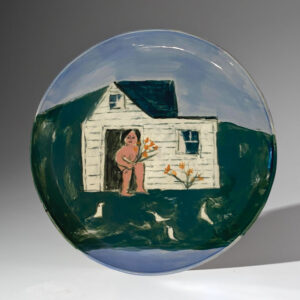 WILLIAM IRVINE Woman with Day Lilies porcelain plate with potter Mark Bell, 13 inches $1500