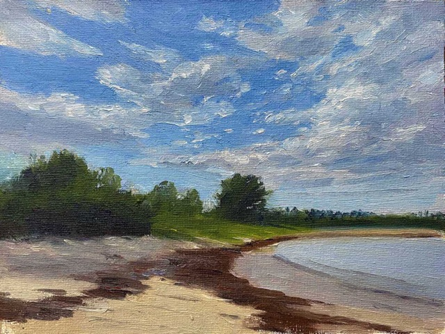 KEVIN BEERS Clark Island Beach oil on board, 6 x 8 inches