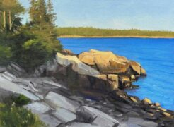 KEVIN BEERS Schoodic Ledge oil on board, 18 x 24 inches