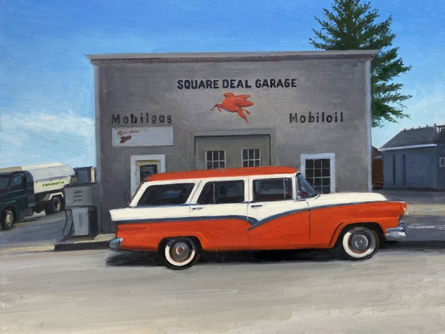 KEVIN BEERS Square Deal Garage oil on board, 18 x 24 inches