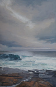 JUDY BELASCO Schoodic Sky oil on canvas, 28 x 18 inches $3000