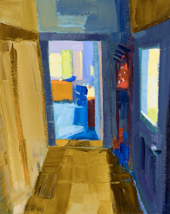 PHILIP FREY View of a Room oil on canvas, 10 x 8 inches