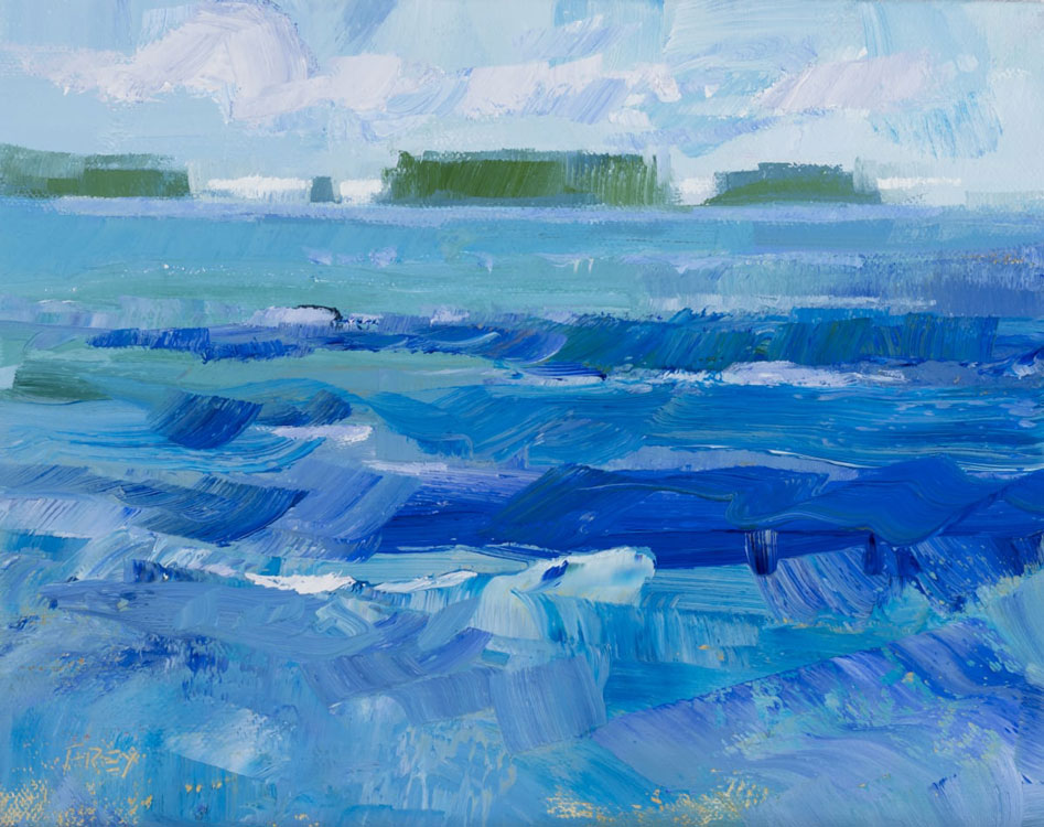 PHILIP FREY Through the Waves oil on canvas, 8 x 10 inches