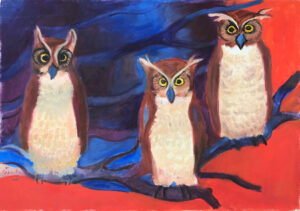EMILY MUIR Three Owls oil on canvas, 17 x 24 inches
