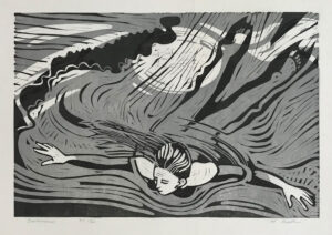 HOLLY MEADE Swimmer, edition of 12 woodblock print, 16 x 24 inches $1000