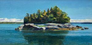 TOM CURRY Deer Isle Thorofare oil on board, 18 x 36 $5800