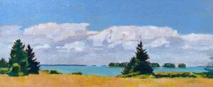 TOM CURRY Summer Meadow oil on birch board panel, 26 x 64 $14,500