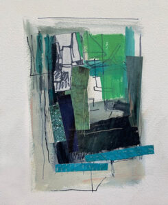 ROSIE MOORE Sea Green Window mixed media, 15 x 11 inches $1100