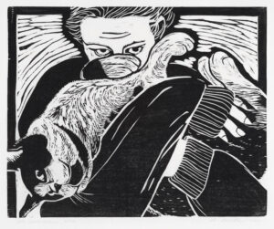 HOLLY MEADE Cat Embrace woodblock print, 11 x 14 inches edition of 10 $1500