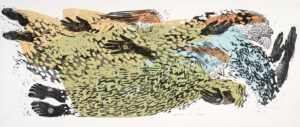 HOLLY MEADE Holy Trinity woodblock print, 18 x 48 inches last in edition of 9 $5000