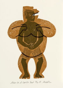HOLLY MEADE Man in Gorilla Suit woodblock print, 7 x 5 inches edition of 10 $500