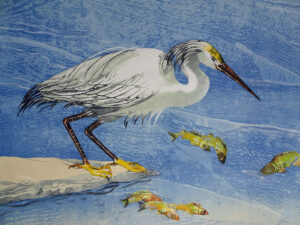 SUSAN AMONS Egret on a Sandspit III monoprint with pastel, 22 x 30 inches $1200