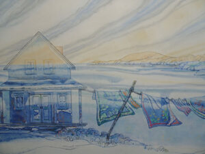 SUSAN AMONS Great Cranberry Laundry Line, Winter II monoprint with pastel, 17 x 25 inches SOLD