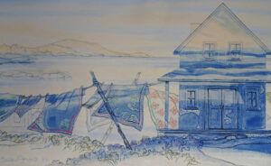 SUSAN AMONS Great Cranberry Laundry Line, Winter 13 x 22 inches $800