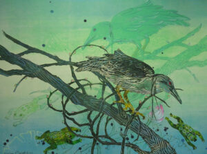 SUSAN AMONS Night Heron, Lily Frogs monoprint with pastel, 22 x 30 inches $1200