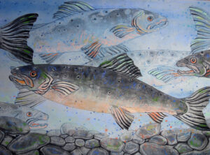 SUSAN AMONS Salmon Run, Spring monoprint with pastel, 18 x 26 inches $1000