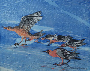 SUSAN AMONS Sandpipers 1b monoprint with pastel, 11 x 14 inches $400