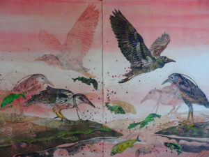 SUSAN AMONS Sunset Night Herons IV monoprint with pastel, 36 x 52 $5000