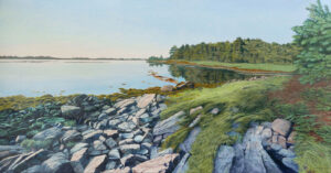 JANICE ANTHONY Cobscook Bay Evening acrylic on linen, 22 x 42 inches $9200