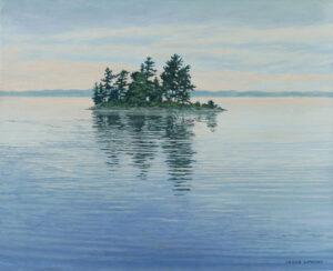 JANICE ANTHONY Morning Island, Ganonoque acrylic on linen, 13 x 15 inches $2400