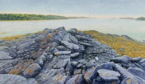 JANICE ANTHONY Rock Ledges,  Sagadahoc Bay acrylic on linen, 16 x 28 inches $4400