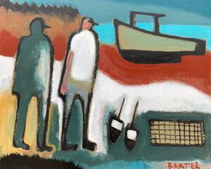 MATT BARTER Boatwork, Two Figures oil on board, 24 x 30 inches $2200